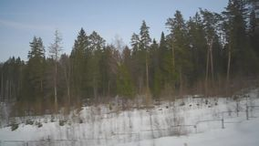 View from the window of a fast-moving train. View from the window of a fast moving train recorded on camera stock footage