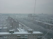 View. From the window 18 floors in winter. all the trees are covered with frost Royalty Free Stock Images