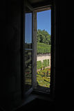 A view from a Window of a French Formal Garden. Royalty Free Stock Photos