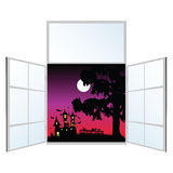 View from the window on a halloween vector illustration Royalty Free Stock Images