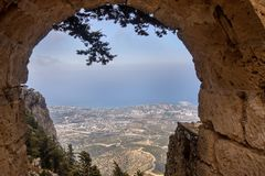 View from the window Hilarion castle at Kyrenia, Northern Cyprus Stock Photography