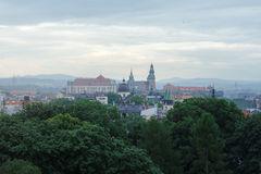 View from the window of Krakow, fog, Stock Photography
