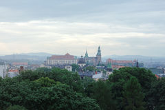 View from the window of Krakow, fog, royalty free stock photography