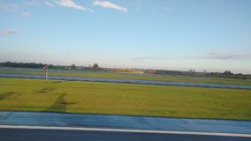 View through the window while landing approaching to Copenhagen Kastrup airport. At autumn season part 6/6 stock video footage