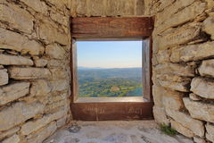 View through the window on landscape. View through the window of a medieval castle in Srebrenik, Bosnia and Herzegovina Stock Image