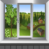 View from window of landscape of town from hill. Summer Stock Photography
