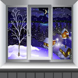 View from window of landscape of town from hill. Winter Royalty Free Stock Photography