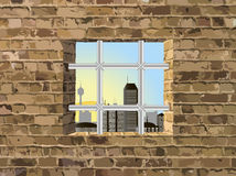 View from the window with a lattice. Vector illustration stock illustration