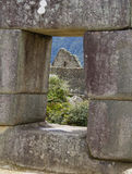View from window Machu Picchu,Peru. Lost city of the Incas. Ancient ruins of Machu Picchu,Cuzco, Peru Royalty Free Stock Photography