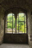 View from the window in a medieval castle. View to the forest  from the window in a medieval castle Stock Photos