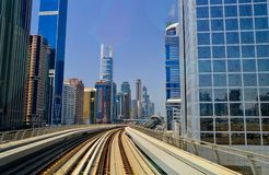 View from the window in the metro in Dubai, 2016 stock images