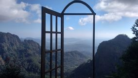 View window in the mountain stock photo