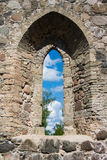 A view through a window of an old castle at Sigulda. Latvia royalty free stock photos