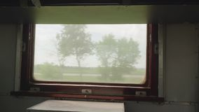 View from window of old moving train. HD stock video footage