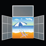 View from the window on the paradise beach vector illustration Royalty Free Stock Image