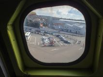 View from the window plane concorde. Museum royalty free stock photo