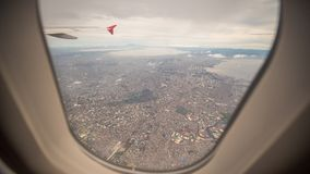 View from the window of the plane to the city of Manila. Philippines. View from the window of the plane to the city of Manila. Philippines royalty free stock image