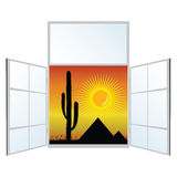 View from the window from the pyramids vector illustration Stock Images