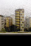 View from the window while is raining, sad mood royalty free stock photography