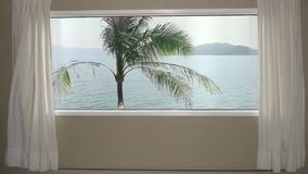 View from window in room hotel palm tree on background blue sea water and hills. Background plate, chroma key video. Background stock video