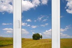 View from the window: rural landscape Stock Images
