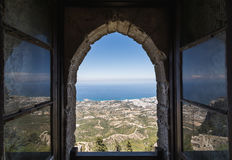 View from the window of Saint Hilarion Castle in Kyrenia, Northern Cyprus royalty free stock photos