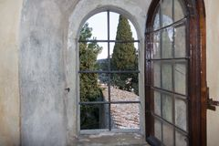 View from a window of San Francesco Monastery in Fiesole, Tuscan stock photo