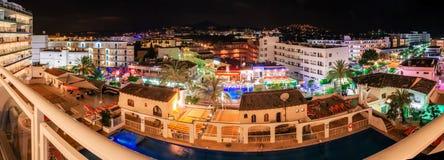 View from window of Santa Ponsa resort at night. Santa Ponsa, Mallorca, Spain - May 26, 2016: View from the Deya hotel window of Santa Ponsa at night. Center of Royalty Free Stock Image