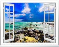 View of the window on the sea promenade royalty free stock images