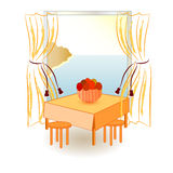 View from the window on the sea. Vector drawing Royalty Free Stock Photo