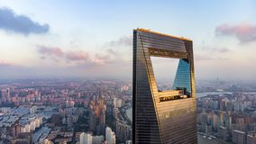View Through Window Of Shanghai Tower To Low Rise Residential District in Pudong. stock photos