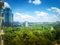 The view from the window of a skyscraper in Atlanta. Clear the sky over city. The view from the window of a skyscraper in Atlanta Stock Images