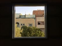 La vue. A view from a window, -Somewhere Morocco royalty free stock photography