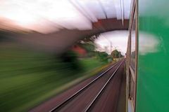 View from the window of speeding train Royalty Free Stock Image