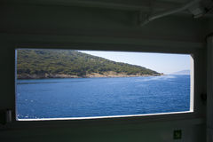 View through window to cliff Stock Photography