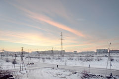 View from the window to the industial street in the winter frosry morning. North Stock Photography