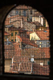 View from the window on traditional Italian town roofs and houses, Lucca Royalty Free Stock Photos