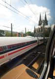 View from the window of a train - Cologne. Arrival by train to Cologne - a view from a window Stock Photography