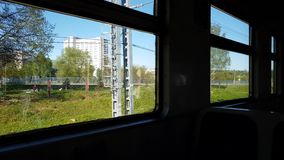 View from window of the train to suburb of Russia. View from the window of the train to the suburb of Russia stock footage