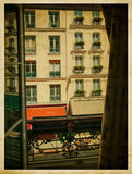 View from the window. Vintage parisian street. Royalty Free Stock Images