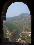 The view through the window of a watchtower on the Great Wall. Of China stock image