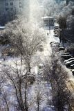 Landscape from the window on a frosty bright winter sunny day stock photography