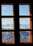 View through a window winter mountain landscape Royalty Free Stock Photography