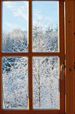 View through a window, winter time Stock Photos