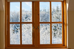 View through a window, winter time Royalty Free Stock Image