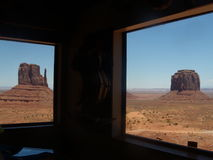 View through the windows on the Monuments Valley Stock Images