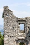 View through windows of ruin Castel Belfort in Italy Royalty Free Stock Image