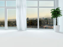 View through the windows of an urban apartment Royalty Free Stock Image