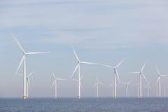 View of windpark in the Dutch Noordoostpolder, Flevoland Royalty Free Stock Images