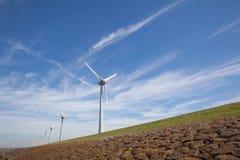 View of windpark in the Dutch Noordoostpolder, Flevoland Stock Images